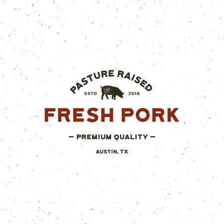 Premium fresh pork label. retro styled meat shop emblem. vector illustration Ilustração