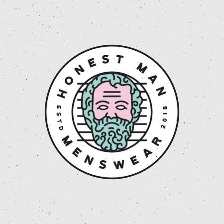 Honest man mens wear label vector illustration Illustration