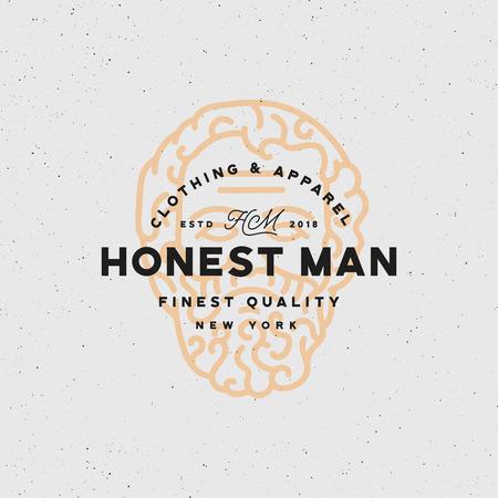 Honest man clothing company label vector illustration.