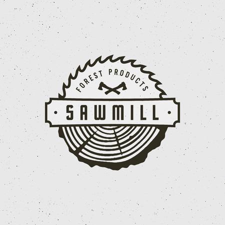 Sawmill icon retro styled woodwork emblem vector illustration. Illustration