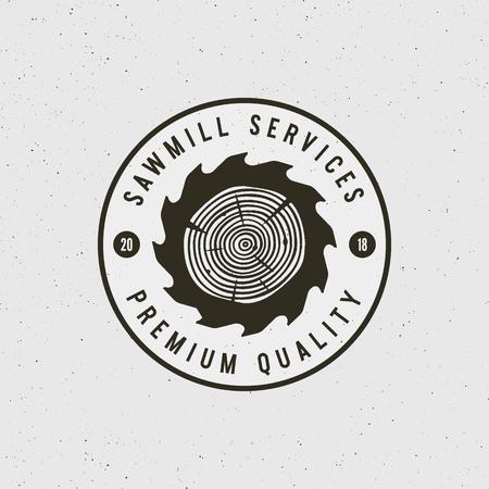 Sawmill services, premium quality emblem illustration Ilustracja
