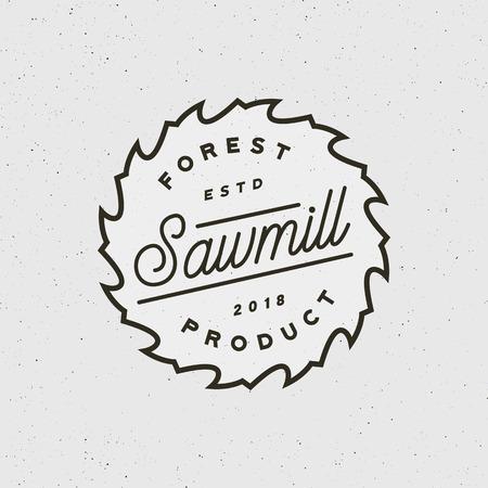 Sawmill icon retro styled woodwork emblem vector illustration. Vettoriali