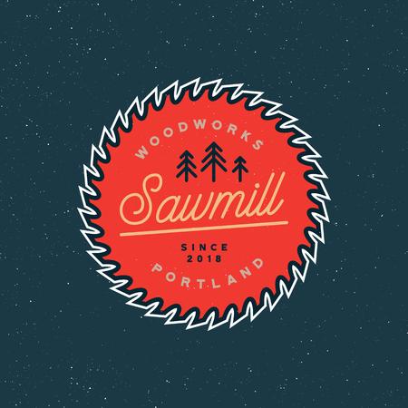 Sawmill icon retro styled woodwork emblem vector illustration. Ilustrace