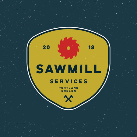 Sawmill services emblem vector illustration