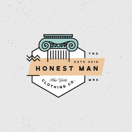 Honest man clothing label vector illustration