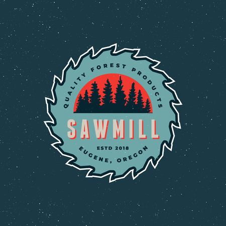 Blue sawmill emblem vector illustration