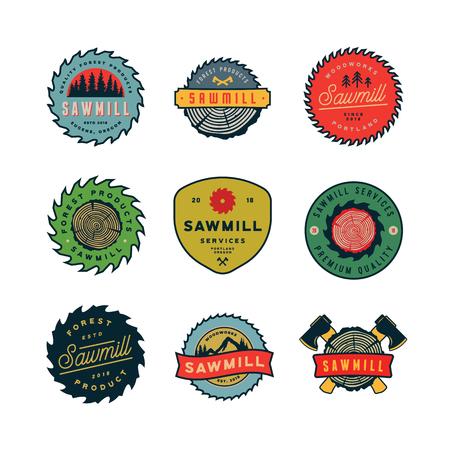 Set of sawmill emblems vector illustration Ilustracja