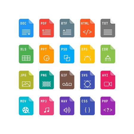 set of file format flat icons. vector illustration