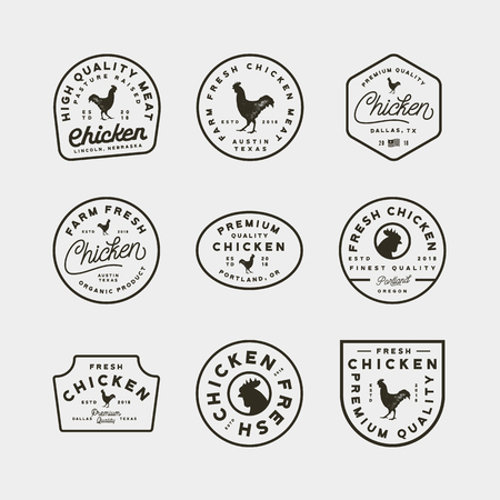Set of premium fresh chicken meat labels. retro styled meat shop emblems, badges, design elements, logotype templates. vector illustration