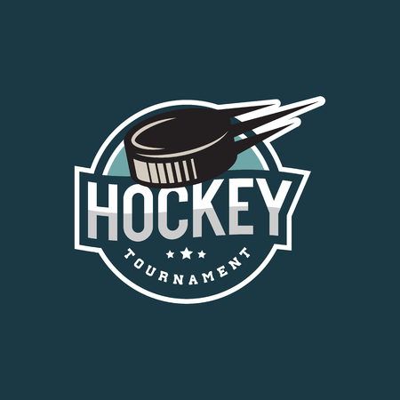 Hockey logo. sport emblem, badge, design elements, logotype template vector illustration