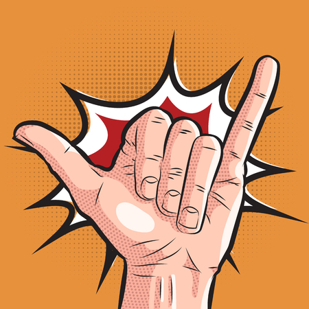 Comic hand showing shaka sign. pop art surf greeting gesture on halftone background Ilustrace