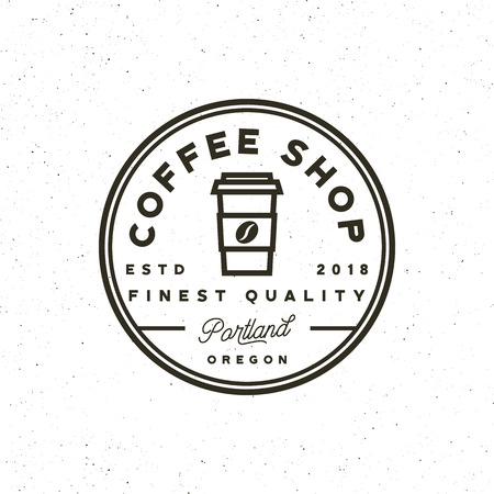 modern vintage coffee shop label. vector illustration