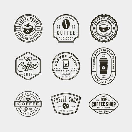 set of modern vintage coffee shop labels. vector illustration Ilustração