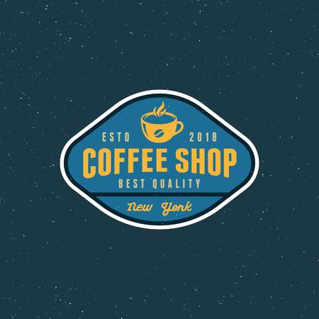 modern vintage coffee shop label. retro styled emblem, badge, design element, logotype template. vector illustration