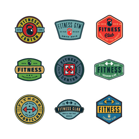 set of vintage fitness gym logos. vector illustration