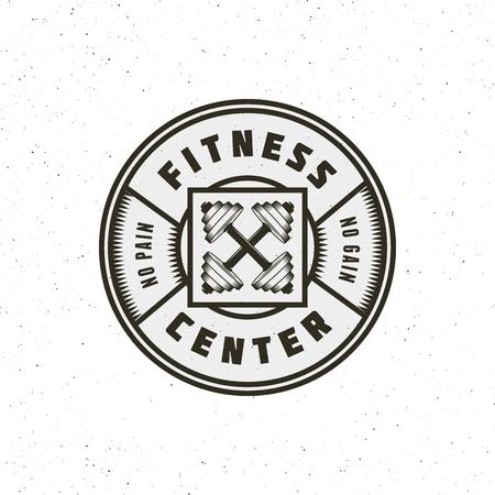vintage fitness gym-logo. retro stijl sport embleem. vector illustratie