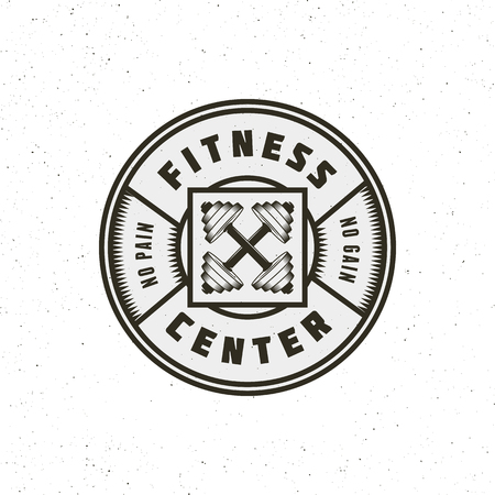 Vintage-Fitnessstudio-Logo. Sportemblem im Retro-Stil. Vektor-Illustration