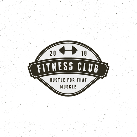 vintage fitness gym logo. retro styled sport emblem. vector illustration