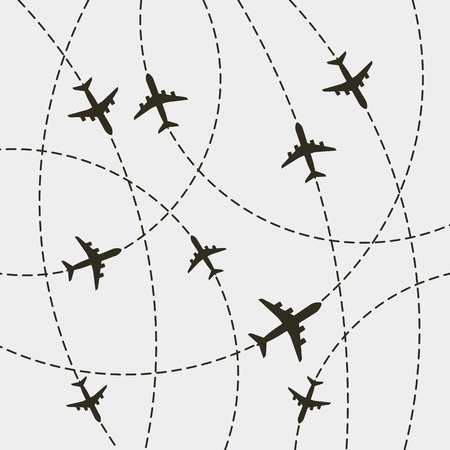 plane with dashed path lines. airplane flight route. vector illustration
