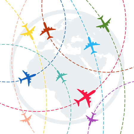 plane with dashed path lines. airplane flight route