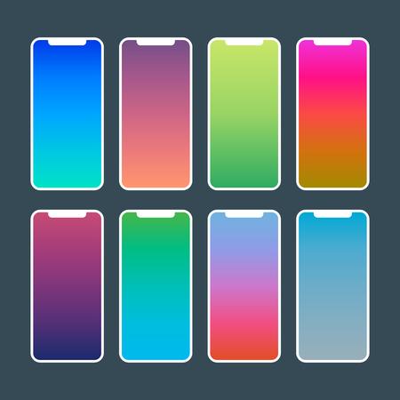 trendy gradient wallpapers. vibrant swatches for mobile app Ilustração
