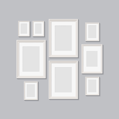 blank picture frames for photographs. vector realisitc mockup with borders. design template on transparent background Ilustrace