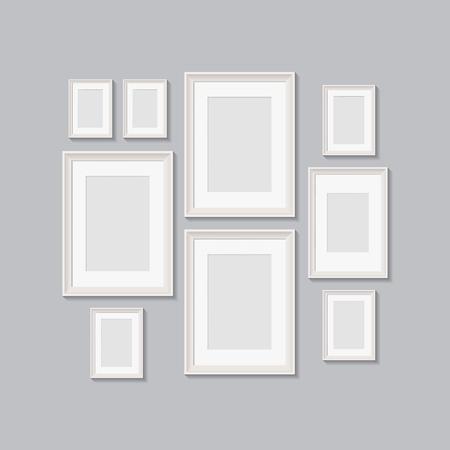 lege fotolijsten voor foto's. vector realisitc mockup met randen. ontwerpsjabloon op transparante achtergrond Vector Illustratie