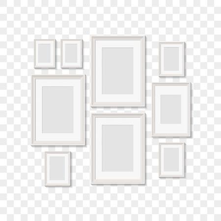 blank picture frames for photographs. vector realisitc mockup with borders. design template on transparent background Ilustração