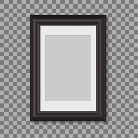 blank picture frame for photographs. vector realisitc mockup with borders. design template on transparent background