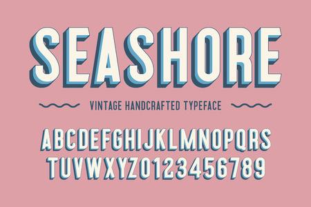 seashore vintage handcrafted 3d alphabet. vector illustration