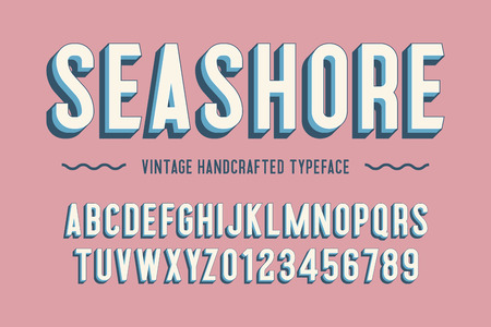 seashore vintage handcrafted 3d alphabet. vector illustration