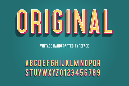 original vintage handcrafted 3d alphabet. vector illustration Illustration