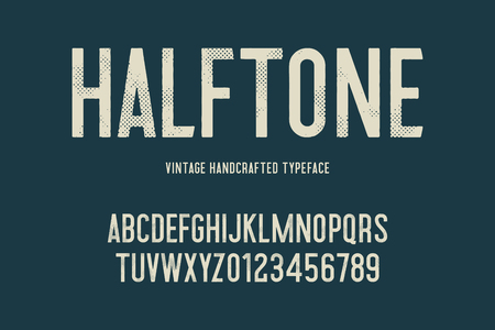 vintage handcrafted typeface with halftone effect. retro font. grunge letters. vector illustration