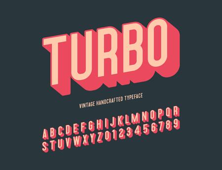 turbo vintage handcrafted 3d alphabet. retro font. vector illustration