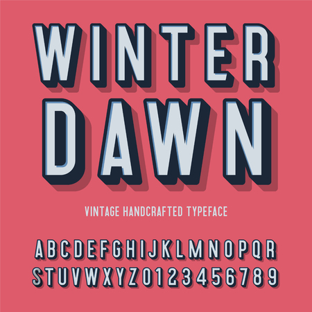 winter dawn vintage handcrafted 3d alphabet. vector illustration