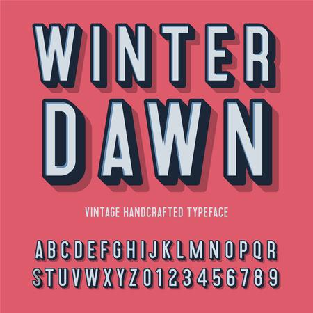 winter dawn vintage handcrafted 3d alphabet. vector illustration