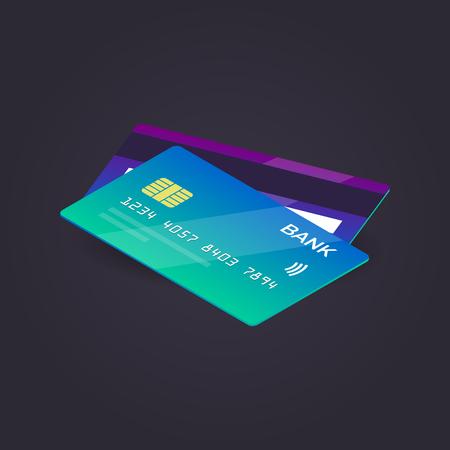 isometric credit card on dark background. vector illustration. flat style.
