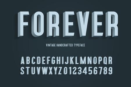 forever vintage handcrafted 3d alphabet. retro font. vector illustration
