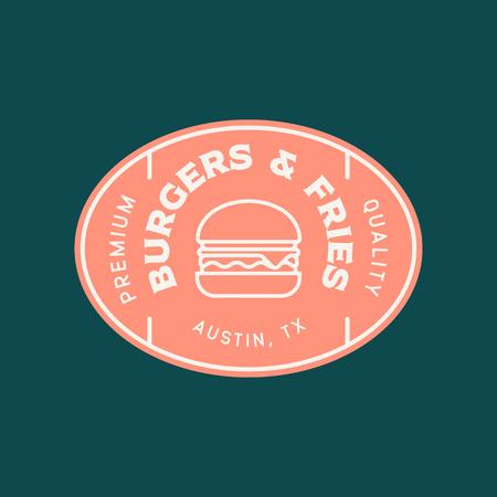 burger logo. retro styled fast food emblem, badge. Illustration