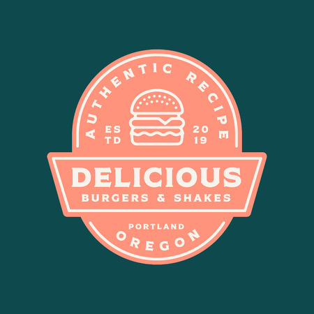 burger logo. retro styled fast food emblem, badge.  イラスト・ベクター素材