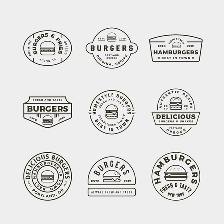 set of burger logos. retro styled fast food emblems Stock Vector - 124949455