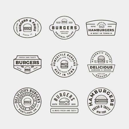 set of burger logos. retro styled fast food emblems