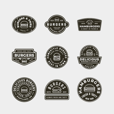 set of burger logos. retro styled fast food emblems