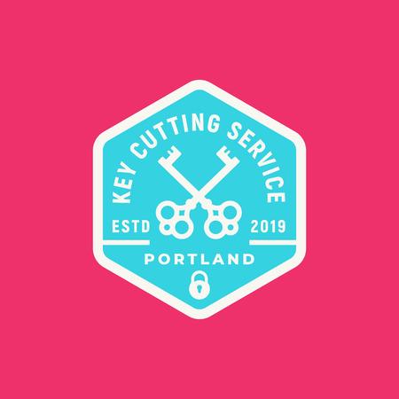 vintage locksmith logo. retro styled key cutting service emblem. vector illustration