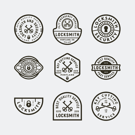 set of vintage locksmith logos. retro styled key cutting service emblems. vector illustration Ilustração