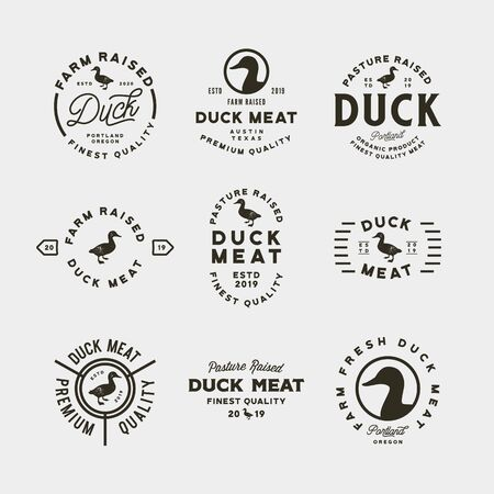 set of premium fresh duck meat labels. vector illustration