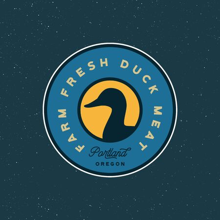 premium fresh duck meat label. retro styled meat shop emblem. vector illustration