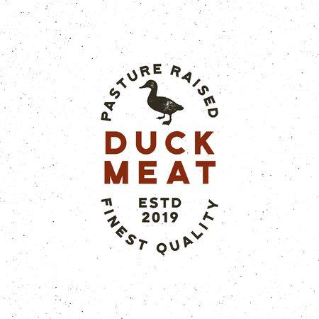 premium fresh duck meat label. retro styled meat shop emblem. vector illustration