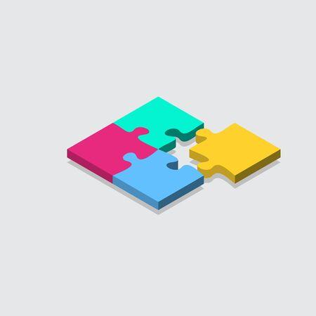 isometric jigsaw puzzle grid background. tile vector illustration