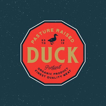 premium fresh duck meat label. retro styled meat shop emblem, badge, design elements, logotype template. vector illustration Ilustrace